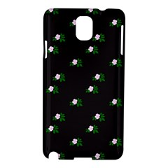 Pink Flowers On Black Big Samsung Galaxy Note 3 N9005 Hardshell Case by snowwhitegirl