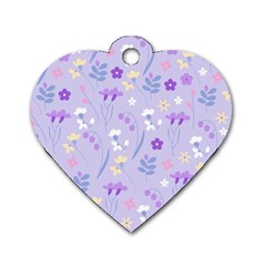 Violet,lavender,cute,floral,pink,purple,pattern,girly,modern,trendy Dog Tag Heart (one Side) by 8fugoso