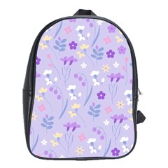 Violet,lavender,cute,floral,pink,purple,pattern,girly,modern,trendy School Bag (large) by 8fugoso