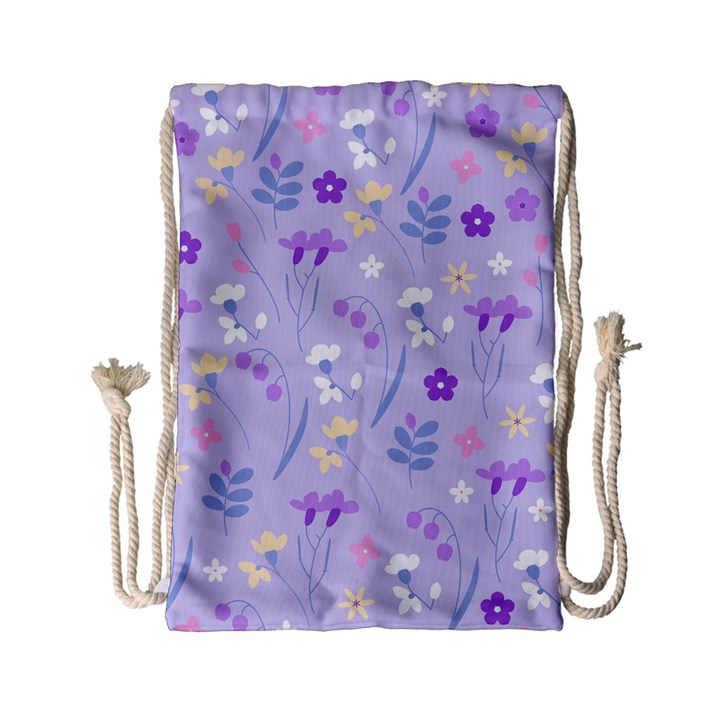 violet,lavender,cute,floral,pink,purple,pattern,girly,modern,trendy Drawstring Bag (Small)