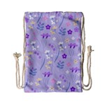 violet,lavender,cute,floral,pink,purple,pattern,girly,modern,trendy Drawstring Bag (Small) Back