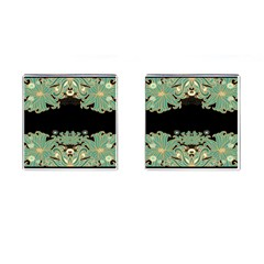 Black,green,gold,art Nouveau,floral,pattern Cufflinks (square) by 8fugoso