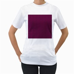 Pink Flowers Magenta Women s T-Shirt (White) (Two Sided)