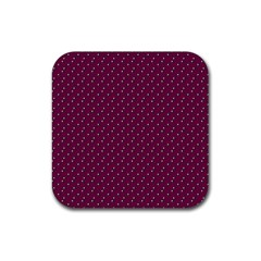 Pink Flowers Magenta Rubber Square Coaster (4 Pack)