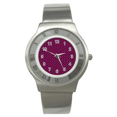 Pink Flowers Magenta Stainless Steel Watch