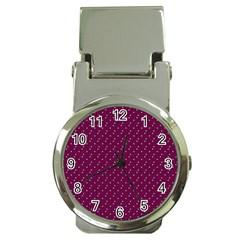 Pink Flowers Magenta Money Clip Watches