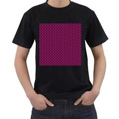 Pink Flowers Magenta Men s T-Shirt (Black)