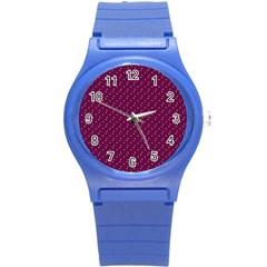 Pink Flowers Magenta Round Plastic Sport Watch (S)