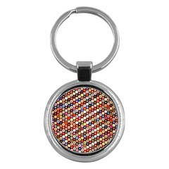 Mosaic Pattern Quilt Pattern Key Chain (round) by paulaoliveiradesign