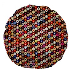 Mosaic Pattern Quilt Pattern Large 18  Premium Round Cushion  by paulaoliveiradesign