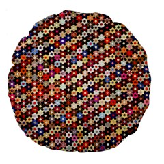 Mosaic Pattern Quilt Pattern Large 18  Premium Flano Round Cushion  by paulaoliveiradesign