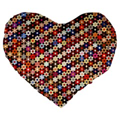 Mosaic Pattern Quilt Pattern Large 19  Premium Flano Heart Shape Cushion by paulaoliveiradesign
