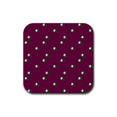 Pink Flowers Magenta Big Rubber Square Coaster (4 Pack)