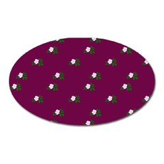 Pink Flowers Magenta Big Oval Magnet