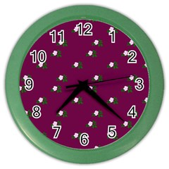 Pink Flowers Magenta Big Color Wall Clocks
