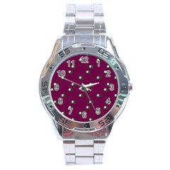 Pink Flowers Magenta Big Stainless Steel Analogue Watch by snowwhitegirl