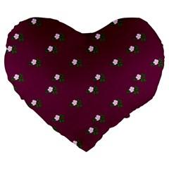 Pink Flowers Magenta Big Large 19  Premium Flano Heart Shape Cushions by snowwhitegirl