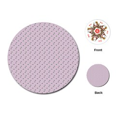 Pink Flowers Pink Playing Cards (round)