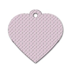 Pink Flowers Pink Dog Tag Heart (one Side)