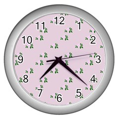 Pink Flowers Pink Big Wall Clocks (silver)