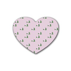 Pink Flowers Pink Big Rubber Coaster (heart)