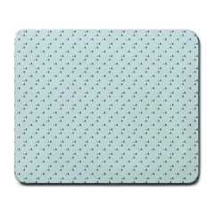 Pink Flowers Blue Large Mousepads by snowwhitegirl