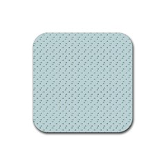 Pink Flowers Blue Rubber Coaster (square)