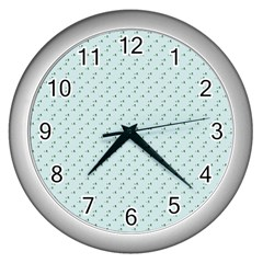 Pink Flowers Blue Wall Clocks (silver)  by snowwhitegirl
