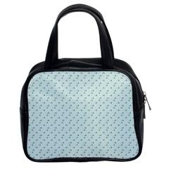 Pink Flowers Blue Classic Handbags (2 Sides)