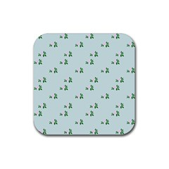 Pink Flowers Blue Big Rubber Square Coaster (4 Pack)