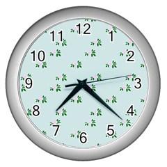 Pink Flowers Blue Big Wall Clocks (silver)