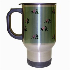 Pink Flowers Blue Big Travel Mug (silver Gray)