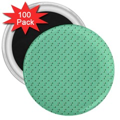 Pink Flowers Green 3  Magnets (100 Pack)