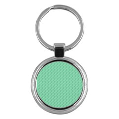 Pink Flowers Green Key Chains (round)