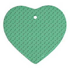 Pink Flowers Green Heart Ornament (two Sides)