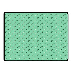Pink Flowers Green Fleece Blanket (small)