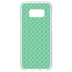 Pink Flowers Green Samsung Galaxy S8 White Seamless Case