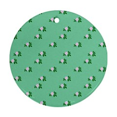 Pink Flowers Green Big Ornament (round)