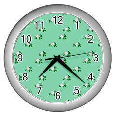 Pink Flowers Green Big Wall Clocks (silver)