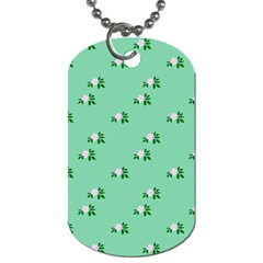 Pink Flowers Green Big Dog Tag (one Side)