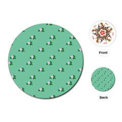 Pink Flowers Green Big Playing Cards (round)