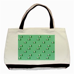 Pink Flowers Green Big Basic Tote Bag