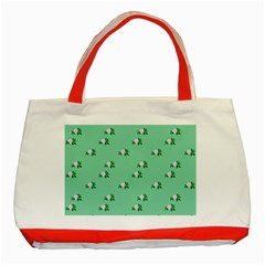Pink Flowers Green Big Classic Tote Bag (red)