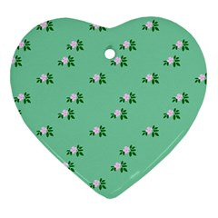 Pink Flowers Green Big Heart Ornament (two Sides)