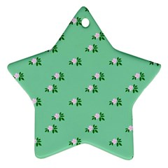 Pink Flowers Green Big Star Ornament (two Sides)