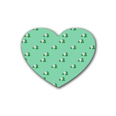 Pink Flowers Green Big Heart Coaster (4 Pack)