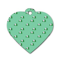 Pink Flowers Green Big Dog Tag Heart (one Side)