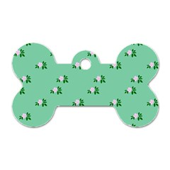 Pink Flowers Green Big Dog Tag Bone (one Side)