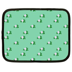 Pink Flowers Green Big Netbook Case (large)