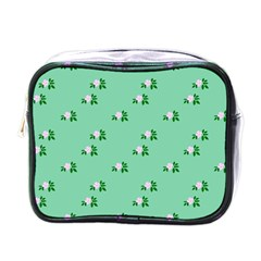 Pink Flowers Green Big Mini Toiletries Bags